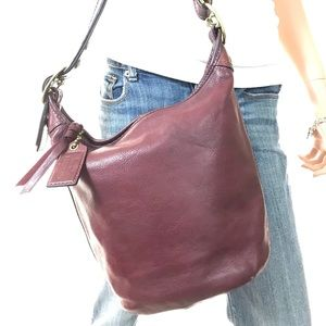 COACH Wine Leather Bleecker Shoulder Bag #11422
